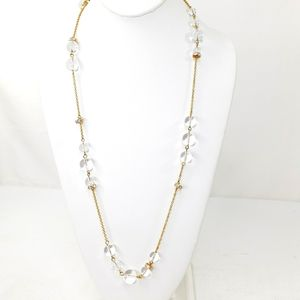 J. Crew Necklace Gold w/ Clear Glass Beads